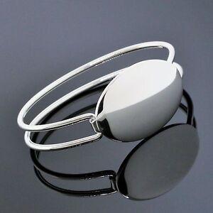 31e127524 Tiffany & Co. Jewelry Sterling Silver Oval ID Tag Wire Cuff Bangle ...