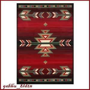Aztec Area Rug Southwestern Accent Red Black Stain