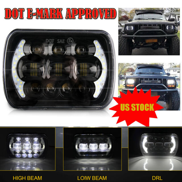 SODIAL 5X7 Led Headlights 7X6 Led Sealed Beam head light lamp with High Low Beam H6054 6054 Led Headlight for YJ Cherokee XJ