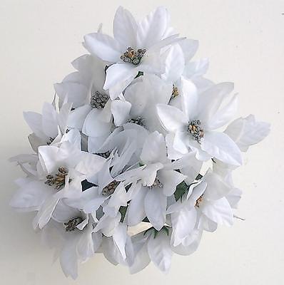 100% Vero 3 X Bianco E Argento Poinsettia Grappoli Di Fiori Artificiali-mostra Il Titolo Originale