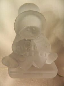 CUTE VINTAGE TOSCANY FROSTED CLEAR PADDINGTON BEAR PAPERWEIGHT - 1980'S