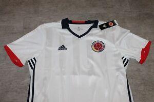 Details zu Adidas Herren Kolumbien Colombians Fußball Trikot 2018 Weiß Rot Größe XL Neu