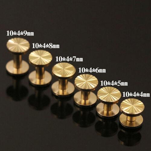Solid Brass 10mm wide Chicago Screws Stud Rivet Leathercraft 4-10mm Binding Book