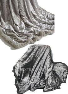 NUOVO-Carbone-di-velluto-schiacciato-e-Argento-Divano-Letto-Buttare-O-Copricuscino-150-x-200-cm