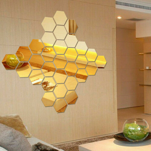 3D Feather Hexagon Mirror Wall Sticker Room Decal Mural Art DIY Home Decoration