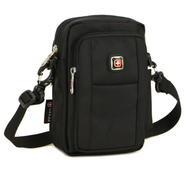 Great Men's Mobile Phone case durable nylon Outdoor Messenger Shoulder bag black