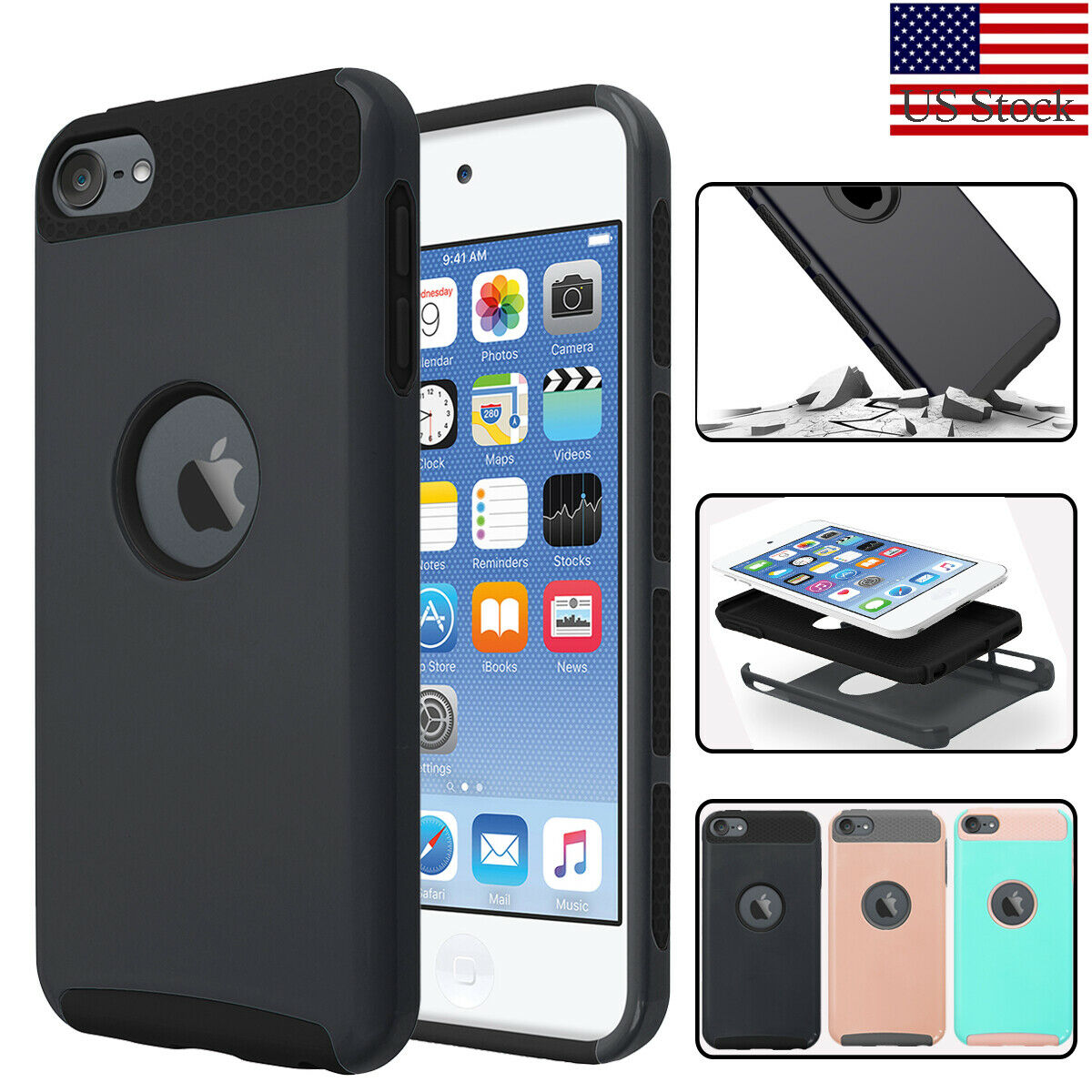 For Apple iPod Touch 5//6//7th Gen Shockproof Impact Rugged Rubber Hard Case Cover