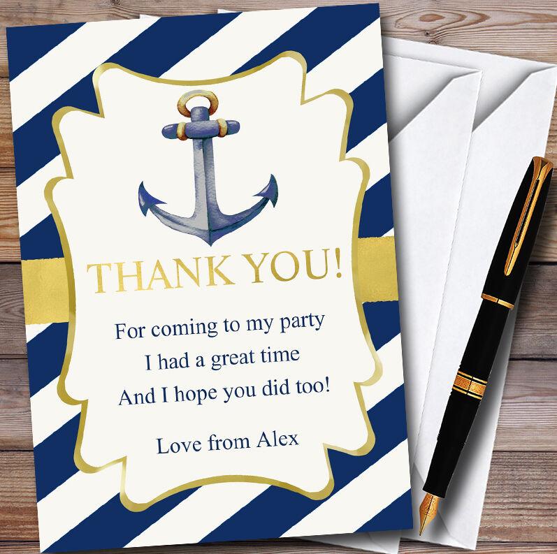 oro Y Azul Náutico Ancla Personalizado Fiesta Tarjetas de Agradecimiento