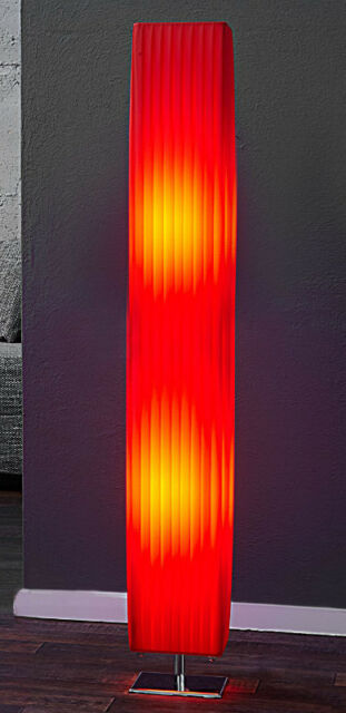 Floor Standing Lamp Light Column Milano Red 120cm Art Deco Pleated Retro