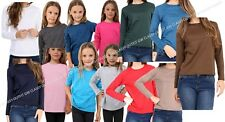 KIDS PLAIN TOP GIRLS BOYS LONG SLEEVE TEE T SHIRT FIT PE TOPS VEST CREW NECK