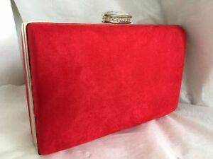 Image Is Loading New Red Faux Suede Box Evening Clutch Bag