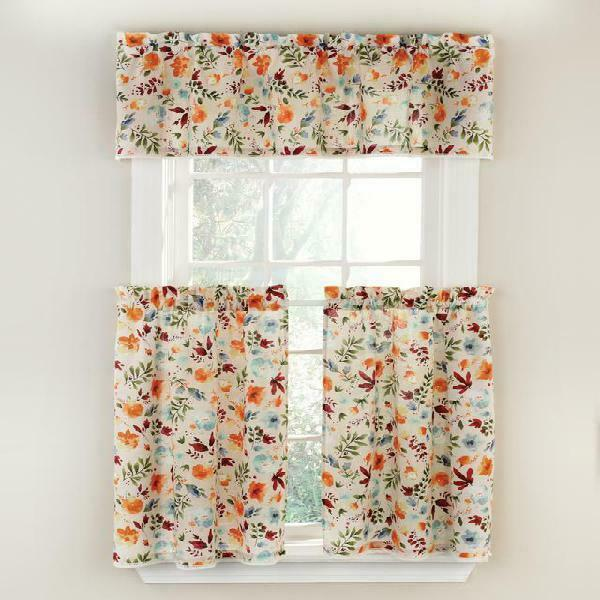 The Pioneer Woman Willow 3 Piece Kitchen Curtain Tier And Valance Set Machine W