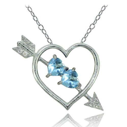 Sterling Silver Blue and White Topaz Heart /& Arrow Necklace