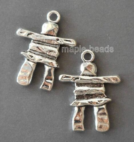 "2pcs-1.5/"" Inukshuk stone man charm pendant-pick silver or brass tone"