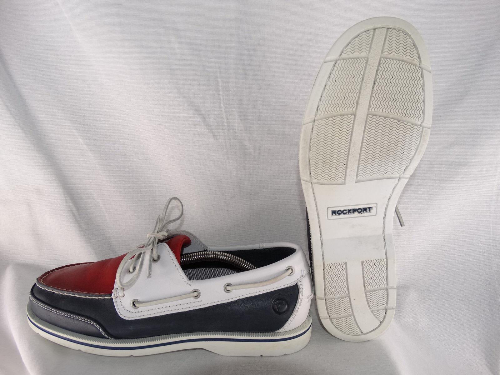 Rockport 2 Eye Boat Schuhe Deckschuhe weiß-blau-rot EU 44,5 US 10,5 Medium