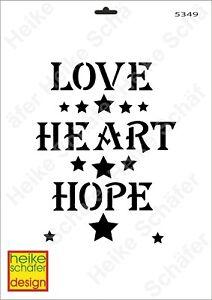 Schablone-Stencil-A3-004-5349-Love-Heart-Hope-Neu-Heike-Schaefer-Design