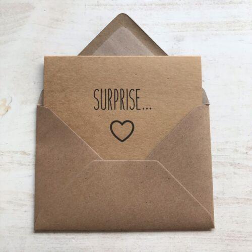 SURPRISE PREGNANCY ANNOUNCEMENT REVEAL CARDS VINTAGE RUSTIC KRAFT SCAN DUE DATE