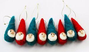 8 X Sweet Christmas Baubles Dwarfs Needle Felted Miniature Beautiful Gift #1 Sale Price Bears