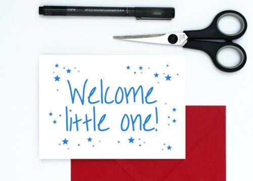 Nuevo bebé chico Tarjeta-nuevos padres Tarjeta-Bienvenido poco una tarjeta-Azul Estrellas Bebé