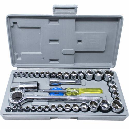40PCS ratchet socket wrench set Chrome Vanadium steel alloy SAE/& Metric Sockets