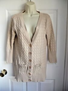 09657bbc083a Day Trip Sweater Cardigan M L 100% Cotton Cable Knit Embelished ...