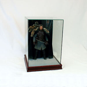 """1/6 Scale Comic Figurine Display Case 14"""" Tall All Glass Cherry Sport Moulding"""