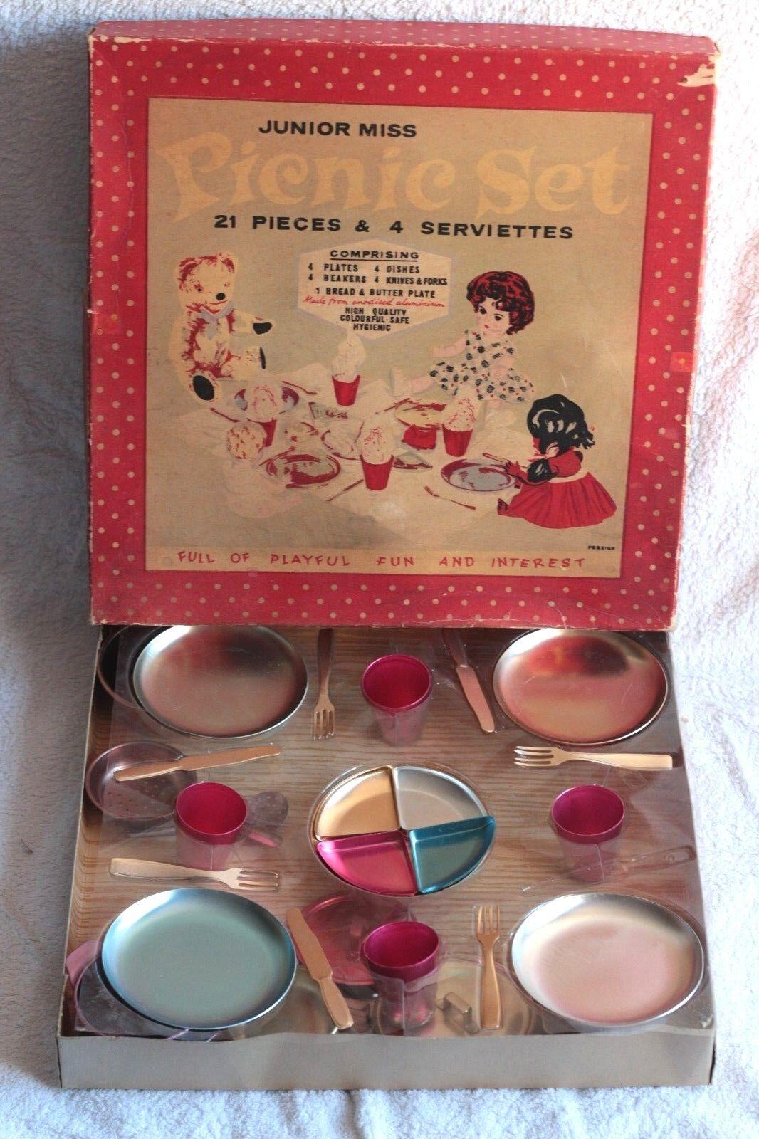 Ancien jouet rare dînette en boîte boîte boîte d'origine PICNIC SET Junior Miss années 60 c3f3df