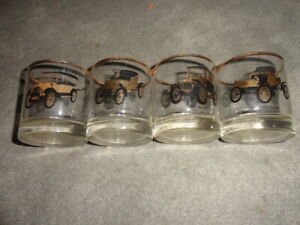 VINTAGE-SET-OF-4-GMC-AC-DELCO-GOLD-RIMMED-PROMOTIONAL-ANTIQUE-CAR-GLASSWARE