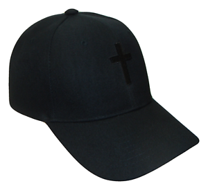 Christian-Cross-Religious-Theme-Baseball-Cap-Caps-Hat-Hats-God-Jesus-Black-Black