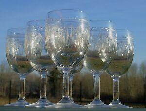 Saint-Louis-Service-de-6-verres-a-eau-en-cristal-grave-XIXe-s