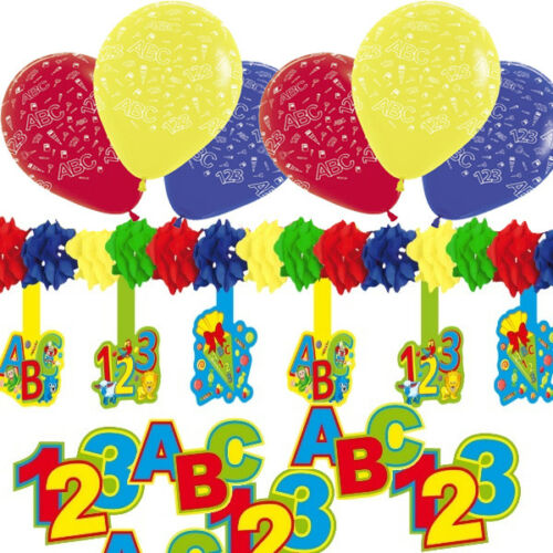 30 tlg Deko-Set Einschulung Schulanfang Luftballons Girlande Tischdeko Set C