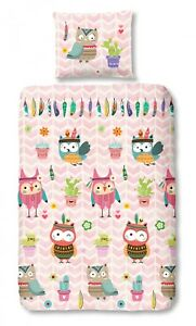 Good Morning Bettwäsche 5608 Owlz Pink Rosa Eulen Indianer Kinder