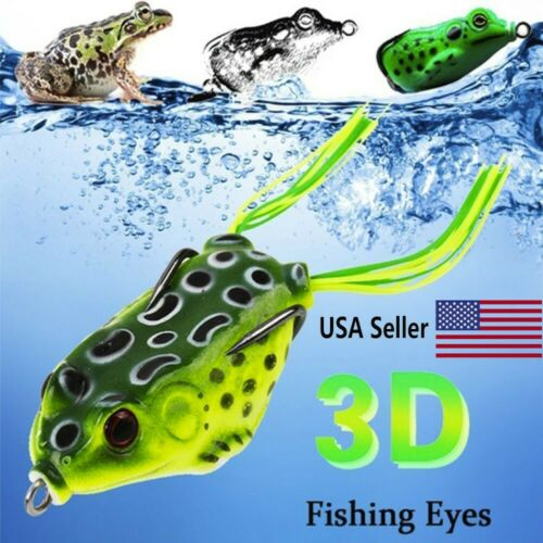 6PCS Rubber Frog Soft Bait Snakeheads Bait Fishing Lures Bass Alloy Tackle US