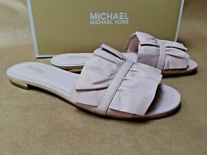 8028f75d233 Details about NEW Michael Kors Bella Slide Sandals Soft Pink Leather Blush