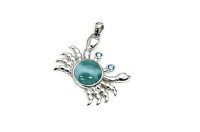 chain NOT included Sterling Silver Crab Pendant with Larimar