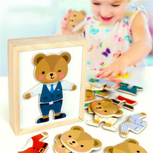 DIY-Wooden-Montessori-Bear-Jigsaw-Puzzle-Game-Kids-Educational-Toys-Gift