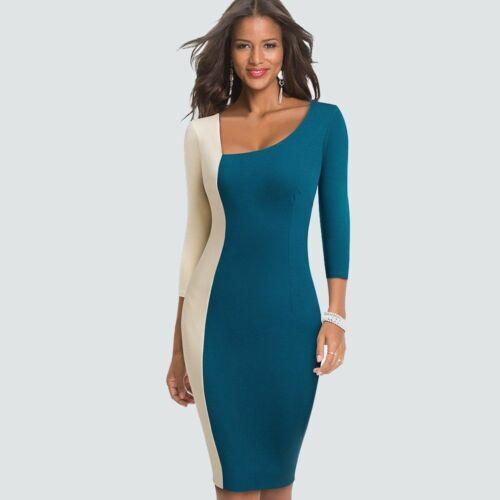 Robe femme élégant contraste couleur bloc asymétrique cou Patchwork équipée gaine