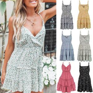 Summer-Women-039-s-Boho-Sexy-Spaghetti-Strap-Casual-Short-Mini-Dress-Beach-Sundress