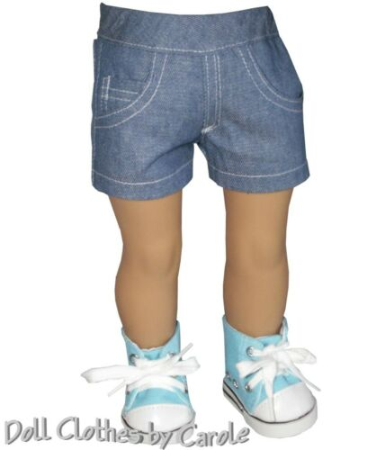 "Blue Denim Fitted Shorts fit 18/"" American Girl Size Doll"
