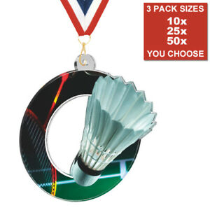 PACK OF 10 WITH RIBBONS BULK DEALS RIFLE SHOOTING GUN ACRYLIC MEDAL 50mm-70mm