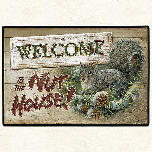 "27/"" X 18/"" DOOR MAT DOOR MATS /""WELCOME TO THE NUT HOUSE/"" SQUIRREL DOORMAT"