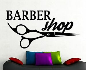 Barber Shop Logo Wall Sticker Window Vinyl Decal Hair Haircut Salon