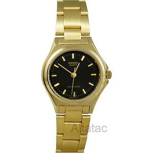 Casio-LTP-1130N-1A-Womens-Gold-Stainless-Steel-Analog-Dress-Watch-w-Black-Dial