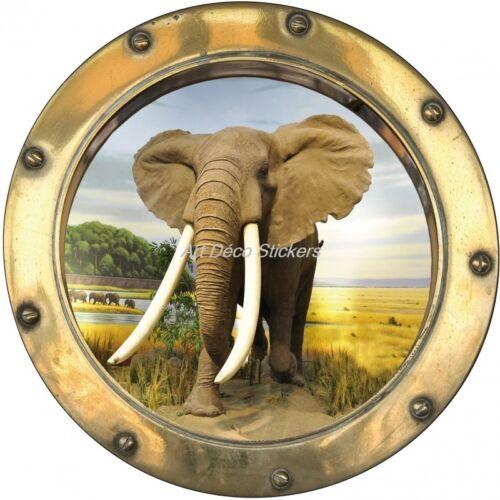 Sticker hublot trompe l/'oeil déco Eléphant H365