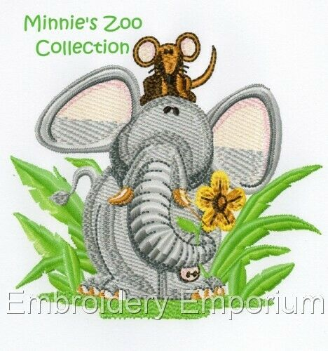 MACHINE EMBROIDERY DESIGNS ON CD OR USB MINNIE/'S ZOO COLLECTION