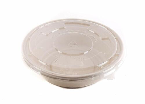 2 Pack of 100 -29 oz Round Disposable Bowls with Flat Lids Natural Sugarcane