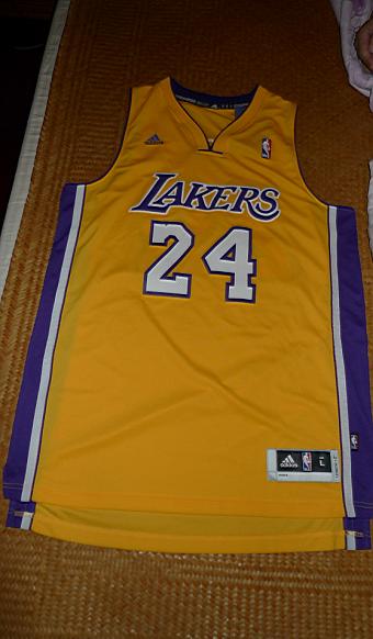 ea2b4148286 Los Angeles LA Lakers Kobe Bryant Yellow Gold Home Size L Large Swingman  Jersey