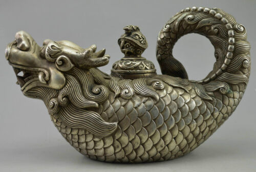 Collectible Decor Old Handwork Miao Silver Carved Dragon Fish Tea Pot