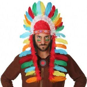 Travailleur Coiffe à Plumes D'indien Déguisement Apache Sioux Chef Guerrier Neuf Pas Cher