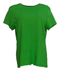 Isaac-Mizrahi-Live-Women-039-s-Top-Sz-L-Cotton-Favorite-T-Shirt-Green-A374886